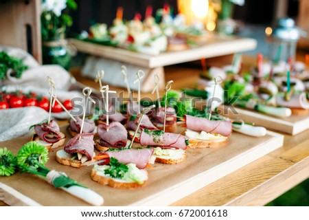 Delicious Catering Banquet Buffet Table Decorated In Rustic Style The Garden Different Snacks