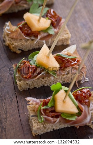 delicious catering finger food - stock photo