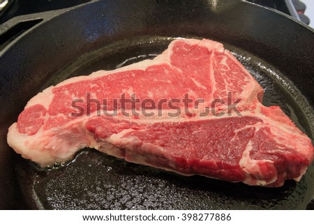 Delicious Certificate Angus Beef Porterhouse Steak close up detail shoot