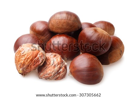 Delicious chestnuts on white background - stock photo