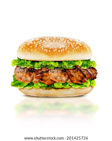 Delicious chicken burger with beef, tomato, cheese and lettuce on white background with clipping path. - stock photo