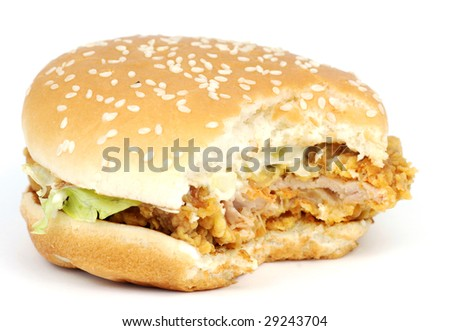 Delicious Chicken Hamburger with bites off