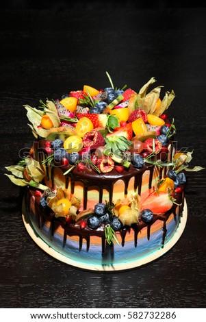 Chocolate Cream Icing Cake Fruits Green Stock Photo 421394116