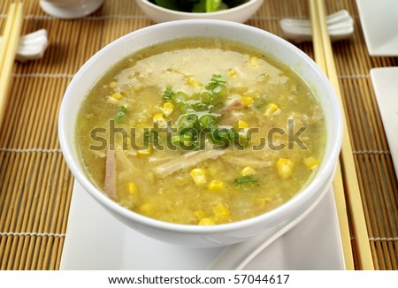 Delicious Chinese chicken and corn soup ready to serve. - stock photo