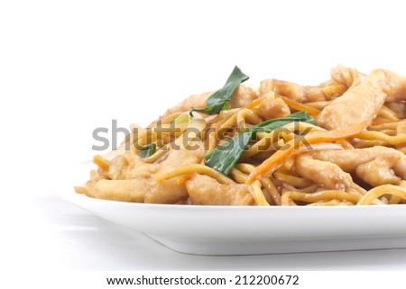 Delicious chinese food, chicken Lo Mein stir fry - stock photo