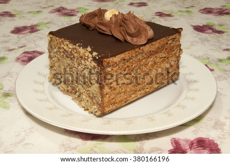 Delicious chocolate cake on plate - stock photo
