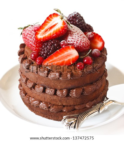 Delicious chocolate cake with cream and berries on a white background close up.