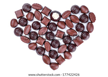 Delicious chocolate candy heart isolated on white background  - stock photo