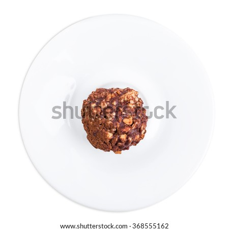 Delicious chocolate candy with nuts. Isolated on a white background. - stock photo