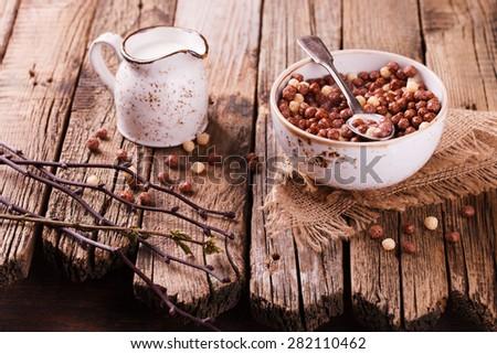 Delicious chocolate corn balls in milk. Assorted.Healthy Breakfast.selective focus - stock photo