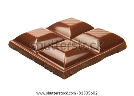 Delicious chocolate pieces close-up isolated on white background - stock photo