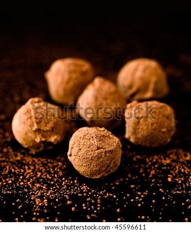 delicious chocolate truffles - stock photo