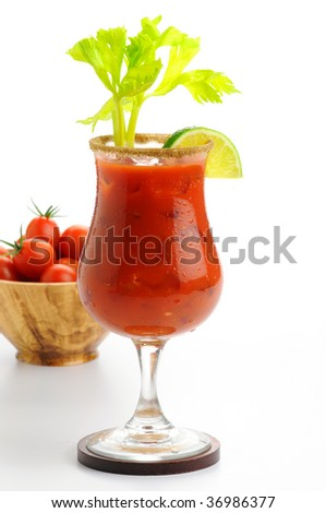 Delicious cocktail made with fresh tomato juice. - stock photo