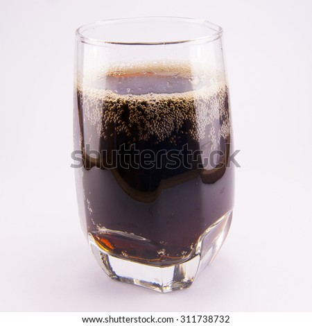 delicious cold cola in a glass isolated - stock photo