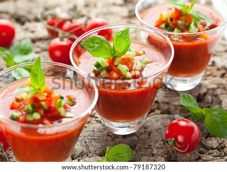 delicious cold Gazpacho soup in glasses - stock photo