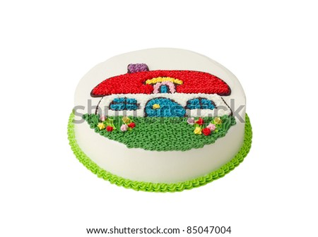 Delicious colorful birthday cake - stock photo