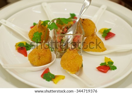 Delicious crab meat Canap���©s starters on plate in restaurant - stock photo