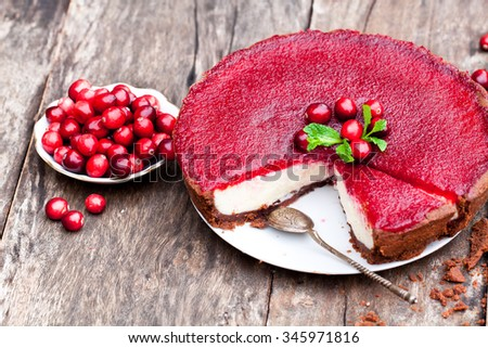 Delicious  cranberry cake with jellied and fresh cranberries for Christmas  - stock photo
