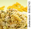 Delicious creamy chicken with spiral pasta ready to serve. - stock photo