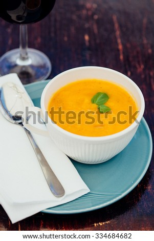 Delicious creamy spanish style vegetable soup on a restaurant table