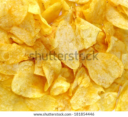 Delicious crispy chips Photographed close up . - stock photo