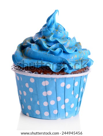 Delicious cupcake isolated on white - stock photo