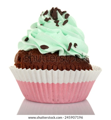 Delicious cupcake with cream isolated on white - stock photo