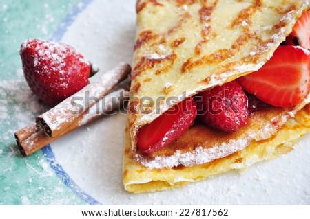 Delicious Czech sweet breakfast - Strawberry pancake - stock photo