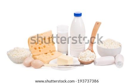 Delicious dairy products. Isolated on a white background. - stock photo
