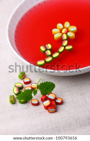 Delicious dessert made from sweet colorful jelly - stock photo