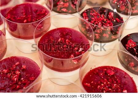 Delicious dessert of creamy strawberry Panna Cotta - stock photo