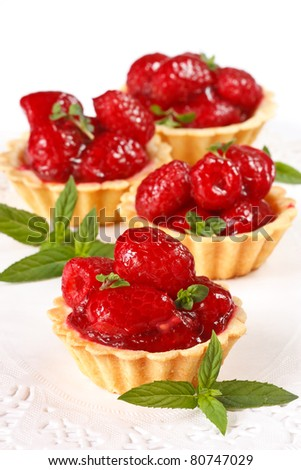 Delicious dessert with fresh raspberries in jelly.
