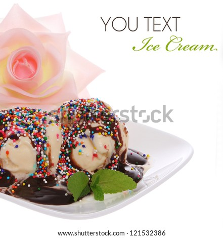 Delicious dessert with ice cream and pink rose, isolated on white - stock photo