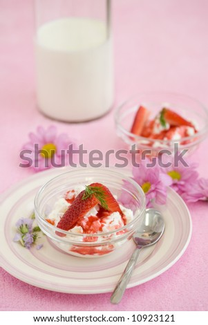 Delicious dessert with ricotta cheese and strawberries