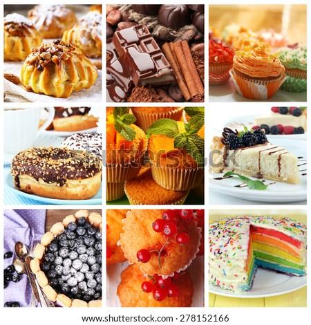 Delicious desserts collage - stock photo