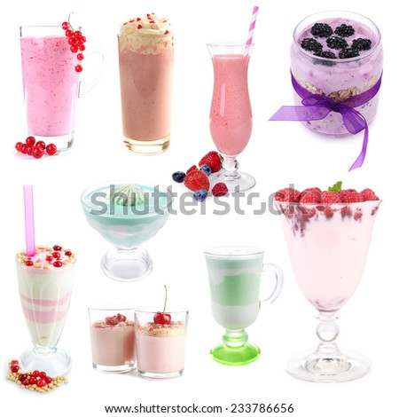 Delicious desserts collage isolated on white - stock photo