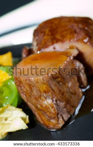 delicious dish of  lamb with gravy and  mixed vegetables - stock photo