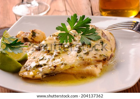 Delicious dish with swordfish - stock photo