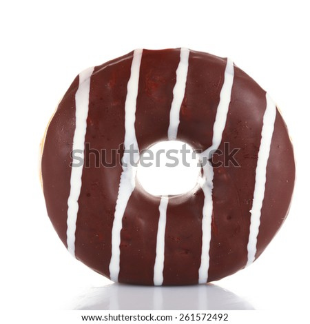 Delicious donut with icing isolated on white - stock photo