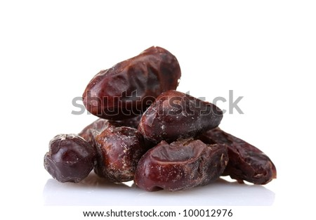 delicious dried dates isolated on white