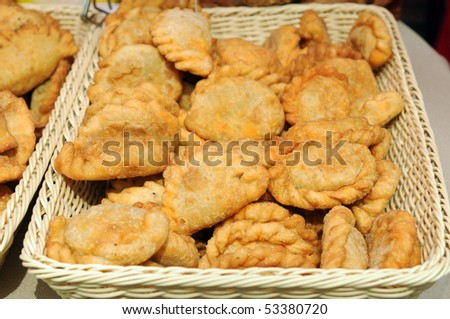 Delicious dumplings in a basket - stock photo