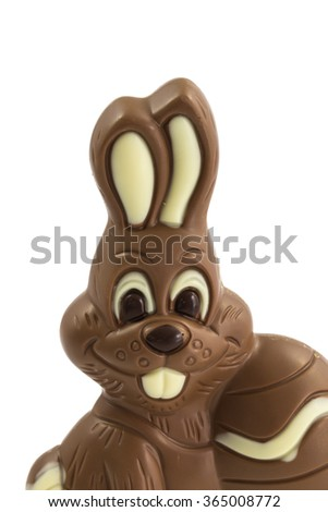 delicious easter chocolate bunny consisting of white, light brown and dark brown chocolate