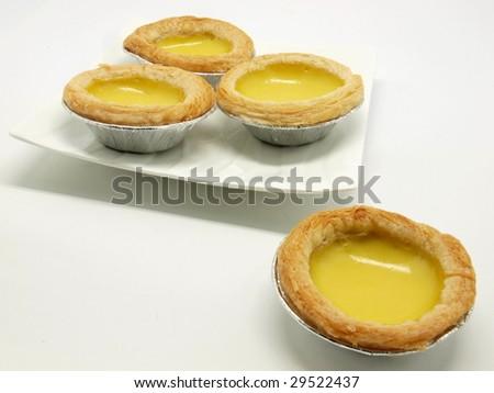 Delicious egg tart isolated on white background. - stock photo