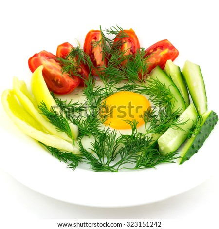 Delicious egg with vegetable, close up, morning meal, isolated on white background. square image - stock photo