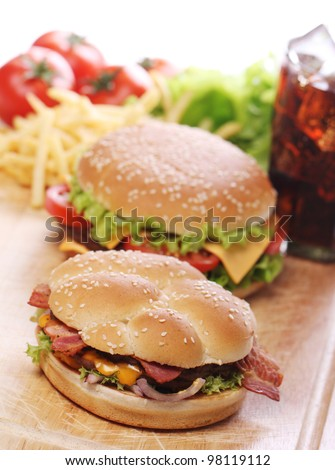 Delicious fast food on the table - stock photo