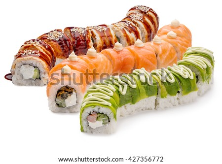 Delicious food from Japan is very popular and desirable nowadays. Nice sushi set with eel, cucumber and caviar. Isolated. - stock photo