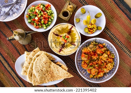 Delicious food from the Middle East: a feast in Jordan - stock photo