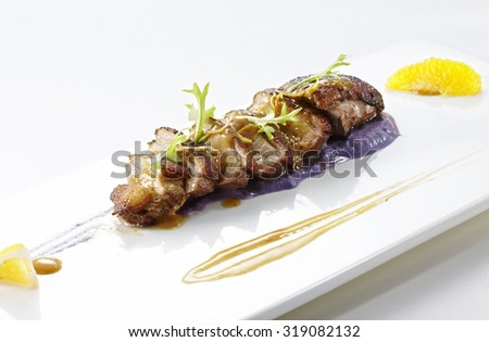 Delicious food, smoked duck breast dishes - stock photo