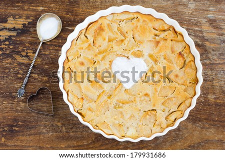 Delicious fresh baked  apple pie on a wooden table - stock photo