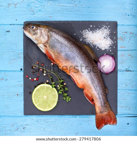 delicious fresh brook trout fish with Lemon and spices on slate - stock photo